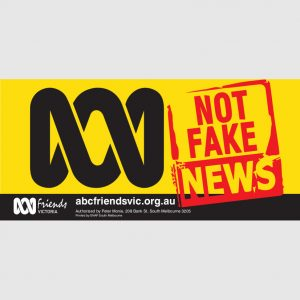 ABC VIC Bumper Sticker 210x99mm Not Fake news